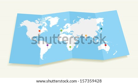 World map with GPS location pushpins travel elements composition. EPS10 vector file organized in layers for easy editing.  - stock vector