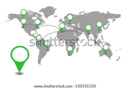 World map with green location pointers vector - stock vector