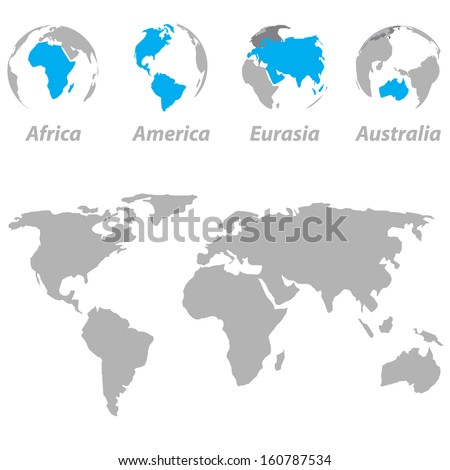 World map with highlighted continents on the globe - stock vector