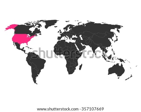 World map highlighted united states america stock photo photo world map with highlighted united states of america simlified political vector map in dark grey gumiabroncs Choice Image