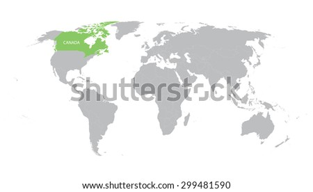 world map with indication of Canada - stock vector