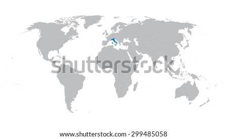world map with indication of Italy - stock vector