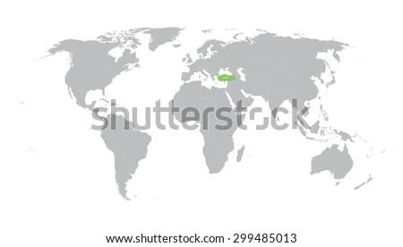 World Map Indication Turkey Stock Vector (Royalty Free) 299485013 ...