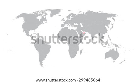 world map with indication of United Arab Emirates - stock vector