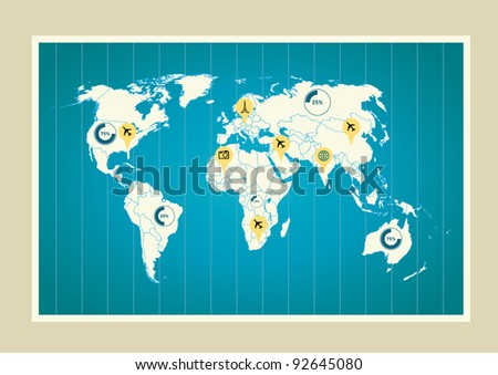 World map with indicators - stock vector