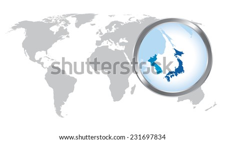 World map with Japan, Korea magnified by loupe - stock vector