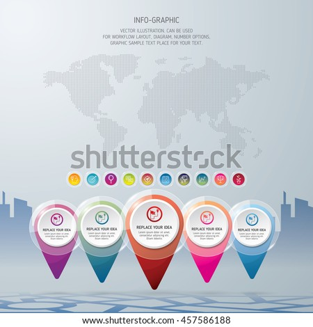 World map with location icons. Check in location on the map diagram infographics. Vector illustration background. - stock vector