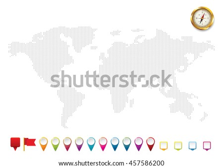 World map with location icons. Check in location on the map diagram infographics. Vector illustration. Vector background. - stock vector