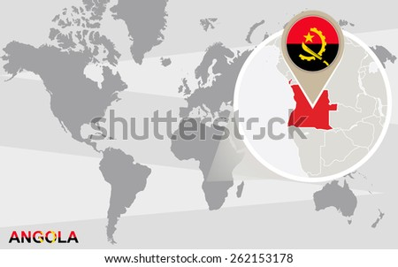World map with magnified Angola. Angola flag and map. - stock vector