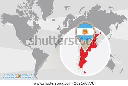World map with magnified Argentina. Argentina flag and map. - stock vector