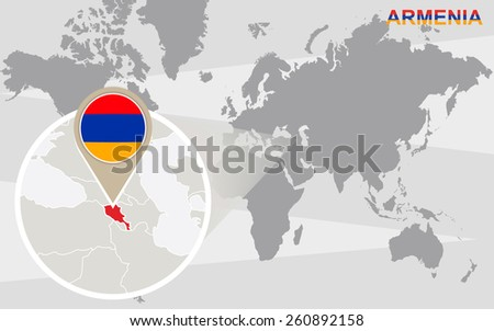 World map with magnified Armenia. Armenia flag and map. - stock vector
