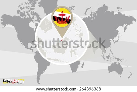 World map with magnified Brunei. Brunei flag and map.  - stock vector