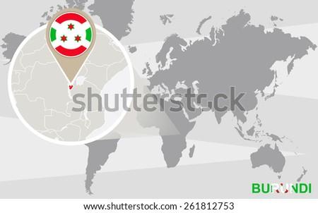 World Map Magnified Burundi Burundi Flag Stock Vector - Where is burundi on a world map