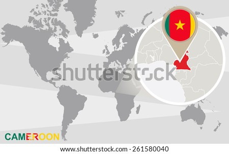 World map with magnified Cameroon. Cameroon flag and map. - stock vector