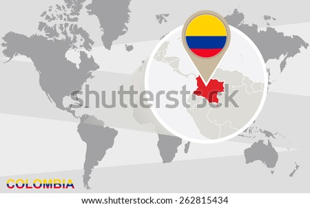 World map with magnified Colombia. Colombia flag and map. - stock vector
