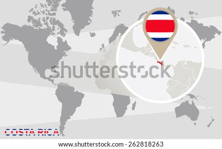 World map with magnified Costa Rica. Costa Rica flag and map.