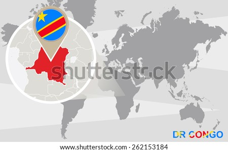 World map with magnified DR Congo. DR Congo flag and map. - stock vector