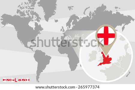 World map with magnified England. England flag and map. - stock vector