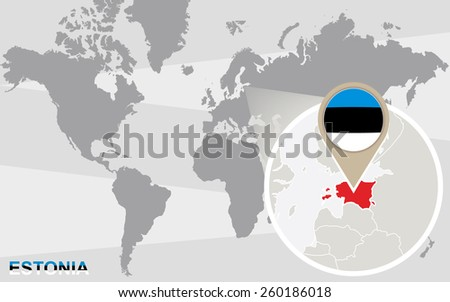 World map with magnified Estonia. Estonia flag and map. - stock vector