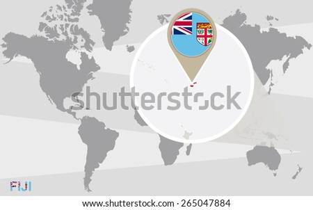 World map with magnified Fiji. Fiji flag and map. - stock vector
