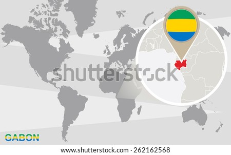 World map with magnified Gabon. Gabon flag and map. - stock vector
