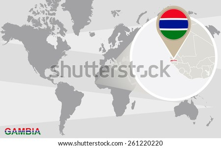 World map with magnified Gambia. Gambia flag and map. - stock vector