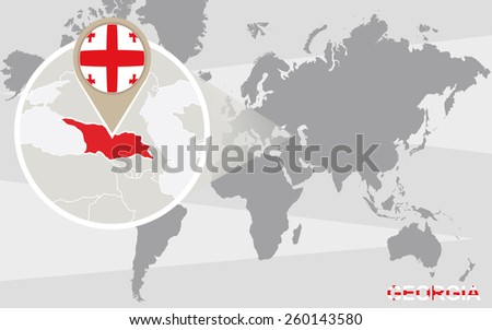 World map with magnified Georgia. Georgia flag and map. - stock vector