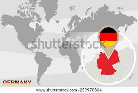 World map with magnified Germany. Germany flag and map. - stock vector