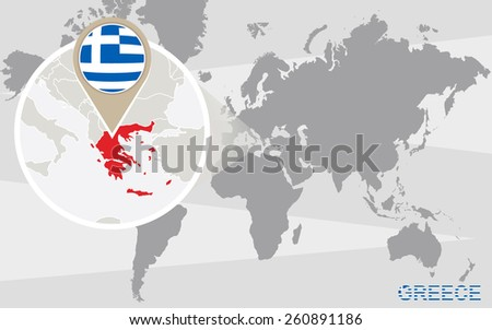 World map magnified greece greece flag vectores en stock 260891186 world map with magnified greece greece flag and map gumiabroncs Image collections