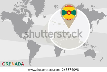 World map with magnified Grenada. Grenada flag and map. - stock vector
