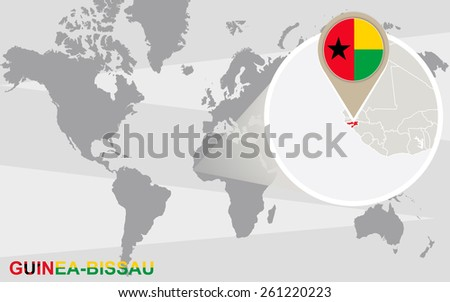 World map with magnified Guinea-Bissau. Guinea-Bissau flag and map.