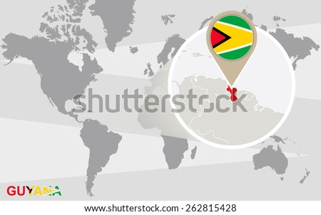 World map with magnified Guyana. Guyana flag and map. - stock vector