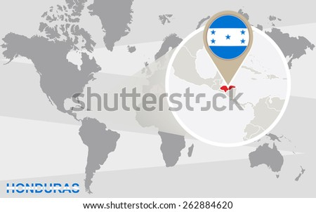 World map with magnified Honduras. Honduras flag and map. - stock vector