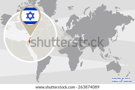 World map magnified israel israel flag stock vector 263874089 world map with magnified israel israel flag and map gumiabroncs Choice Image