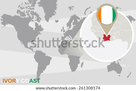 World map with magnified Ivory Coast. Ivory Coast flag and map. - stock vector