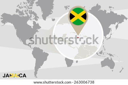 World map with magnified Jamaica. Jamaica flag and map. - stock vector