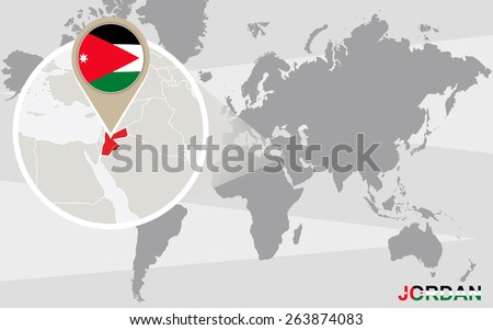 World map magnified jordan jordan flag stock vector hd royalty free world map with magnified jordan jordan flag and map gumiabroncs Choice Image