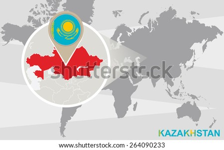 World map magnified kazakhstan kazakhstan flag stock vector world map with magnified kazakhstan kazakhstan flag and map gumiabroncs Choice Image