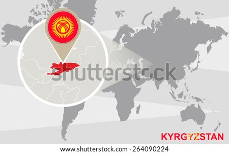 World map with magnified Kyrgyzstan. Kyrgyzstan flag and map. - stock vector