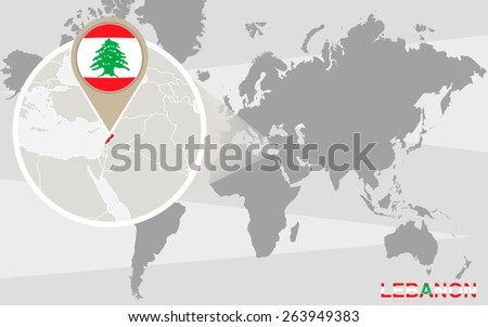 world map with magnified lebanon lebanon flag and map