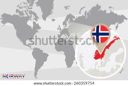 World map with magnified Norway. Norway flag and map. - stock vector