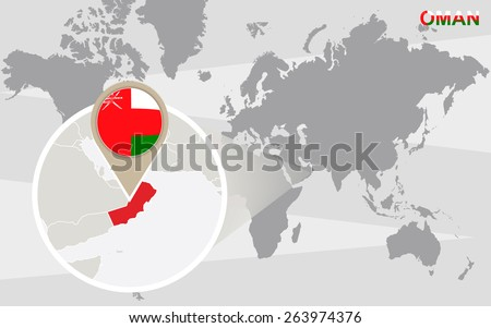 World Map Magnified Oman Oman Flag Stock Vector - Oman in the world map