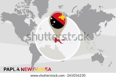 World map with magnified Papua New Guinea. Papua New Guinea flag and map. - stock vector