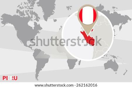 World Map Magnified Peru Peru Flag Stock Vector 262162016 - Shutterstock