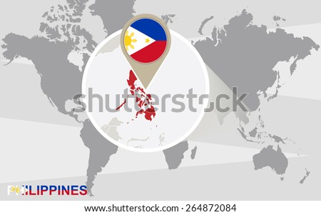 World map with magnified Philippines. Philippines flag and map. - stock vector