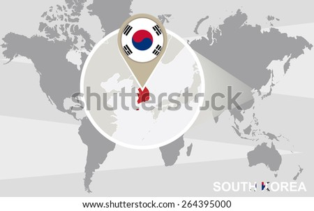 World map with magnified South Korea. South Korea flag and map.  - stock vector