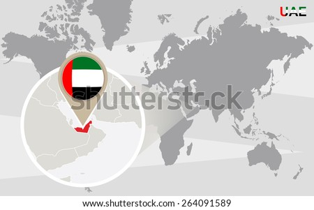 World map magnified united arab emirates stock vector royalty free world map with magnified united arab emirates uae flag and map gumiabroncs Choice Image
