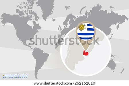 World map with magnified Uruguay. Uruguay flag and map. - stock vector