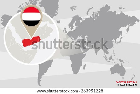 World map with magnified Yemen. Yemen flag and map. - stock vector