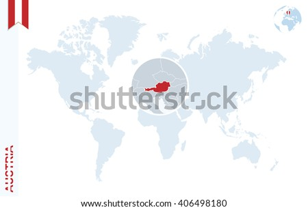 Austria Map Stock Images RoyaltyFree Images Vectors Shutterstock - Austria on world map